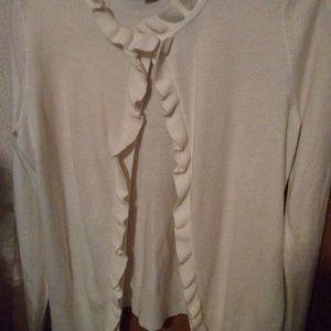 Cream cardigan w/ruffle detail, size medium